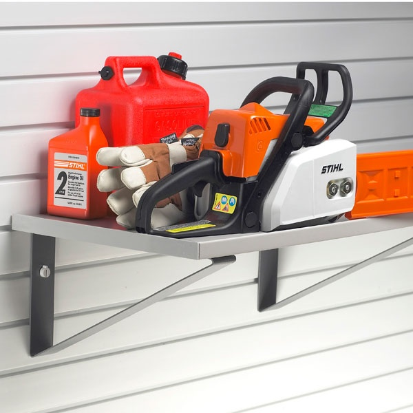 """A 15"""" deep shelf has the size and strength to hold you items and their accessories in one place.."""