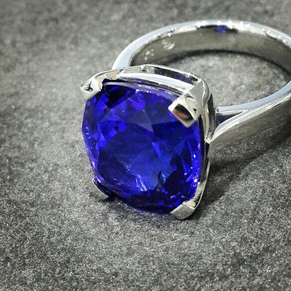 Africn - Tanzanite - Platinum  Stunning Violet Blue 6.5ct Cushion Cut Tanzanite set beautifully in a Platinum Ring.  #tanzanite #platinum #handcrafted #africndiamonds #africn