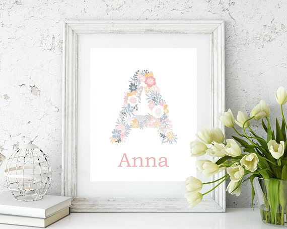 Baby Girls Name Wall Art Print, Monogram wall art, Girls room wall decor, girls name wall art, girls bedroom wall decor - H574 This listing is for 1 art print only - frame not included. This prints are professionally printed on high quality heavyweight matte paper with archival inks.