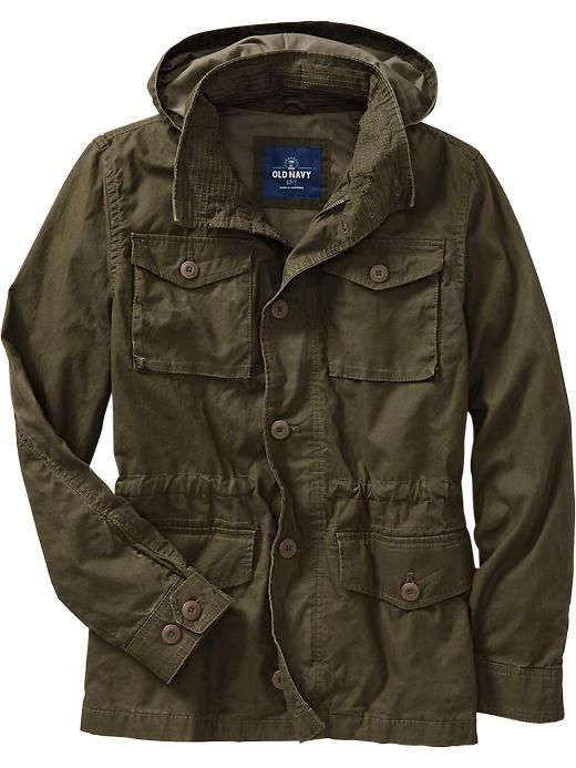Old Navy Men S Hooded Military Style Canvas Jackets In