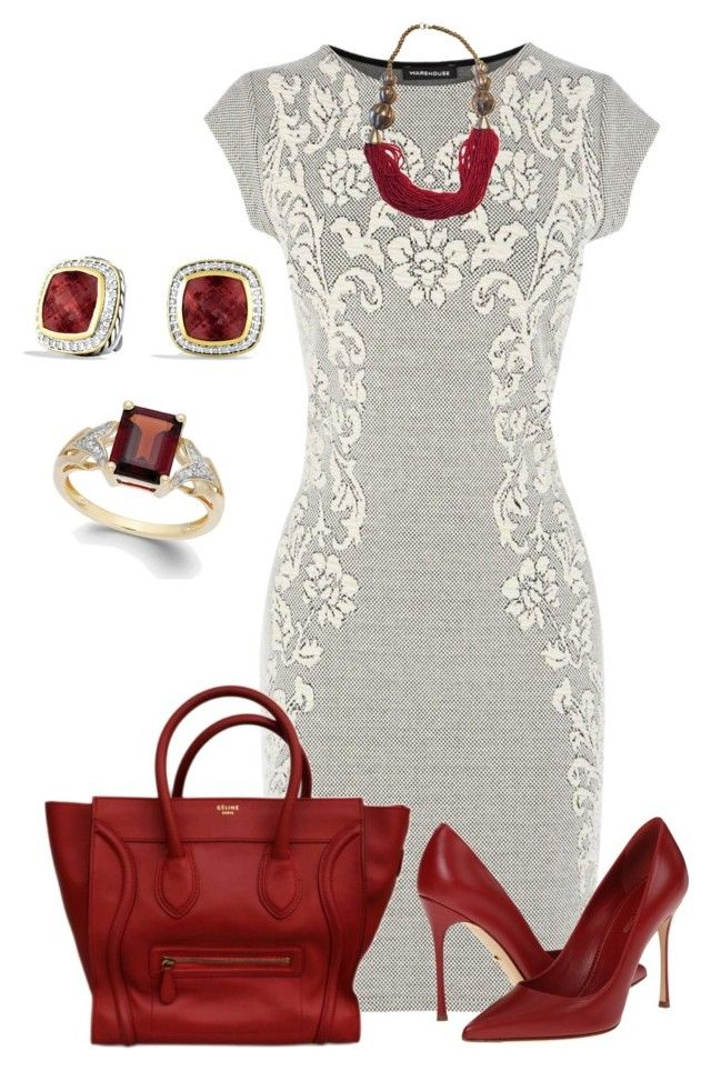 """""""Sin título #1075"""" by marisol-menahem ❤ liked on Polyvore featuring Warehouse, Sergio Rossi and David Yurman"""