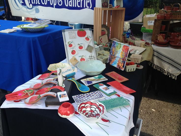 Olivia's display at The Tomato Fest with The Clay Lady's Co-op  www.theclaylady.com