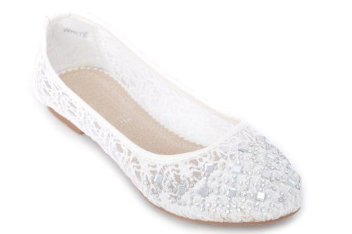 Off White Lace Flat Shoes