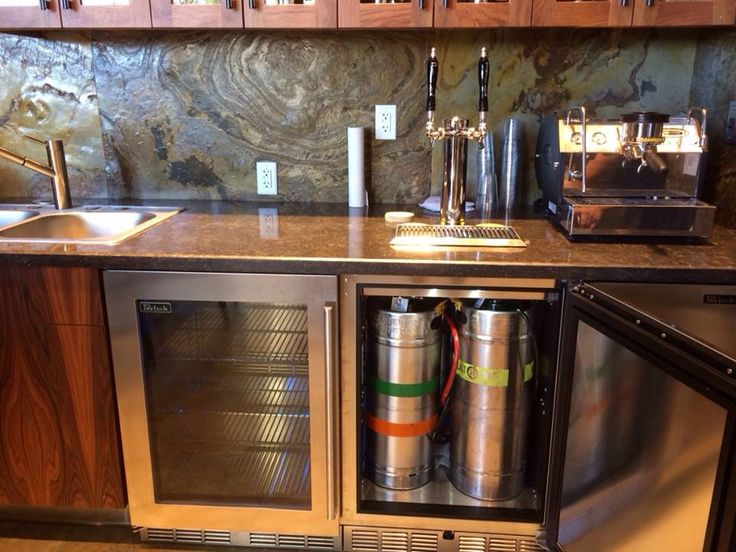 Kitchen remodel with built in kegerator kegerator keezer for Home bar with kegerator space