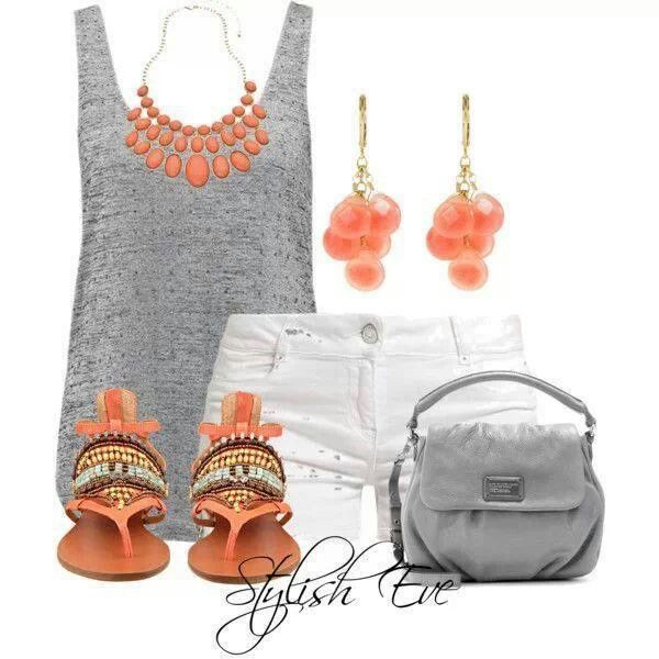 Cute summer outfit! Coral with gray- love it!