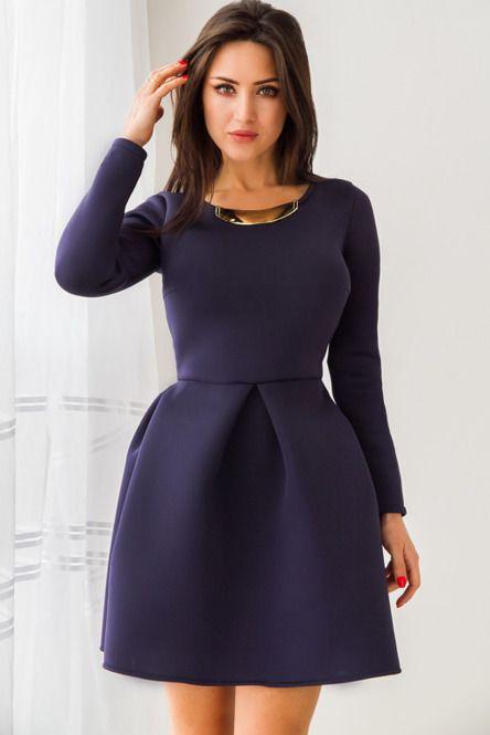 Elegancka, granatowa sukienka z pianki