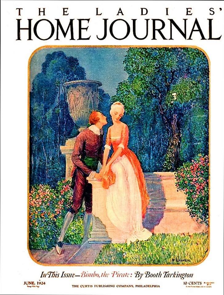 Ladies' Home Journal Couple in Garden June 1924 WP Souler