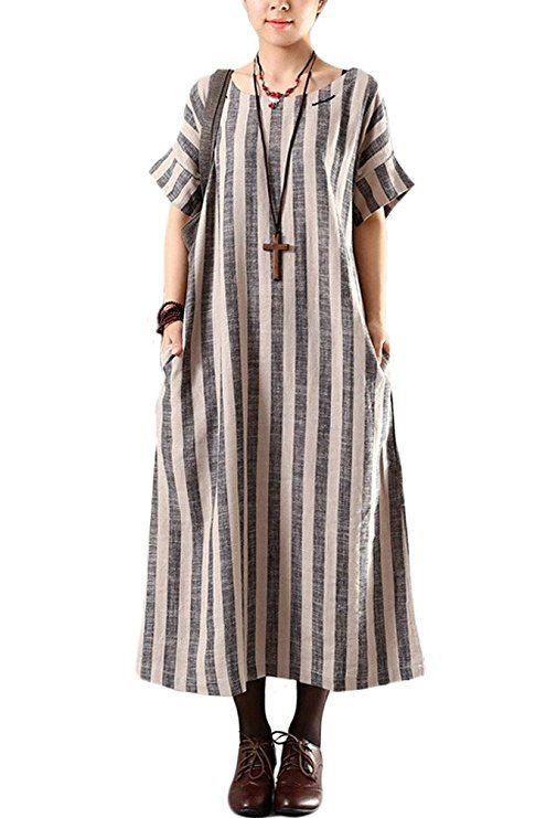 Mordenmiss Women's Summer Stripes Maxi Dress With Side Pockets Gray