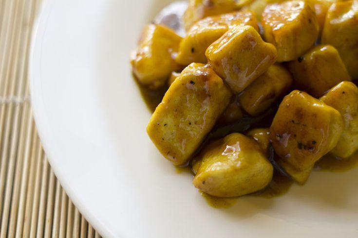 bocconcini di pollo con miele, zafferano e senape