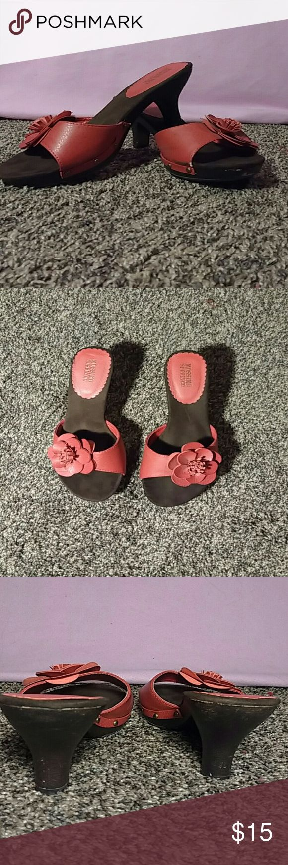 Red heeled sandals with a flower Short read and brown heeled sandals with a decorative flower. Mossimo Supply Co Shoes Sandals