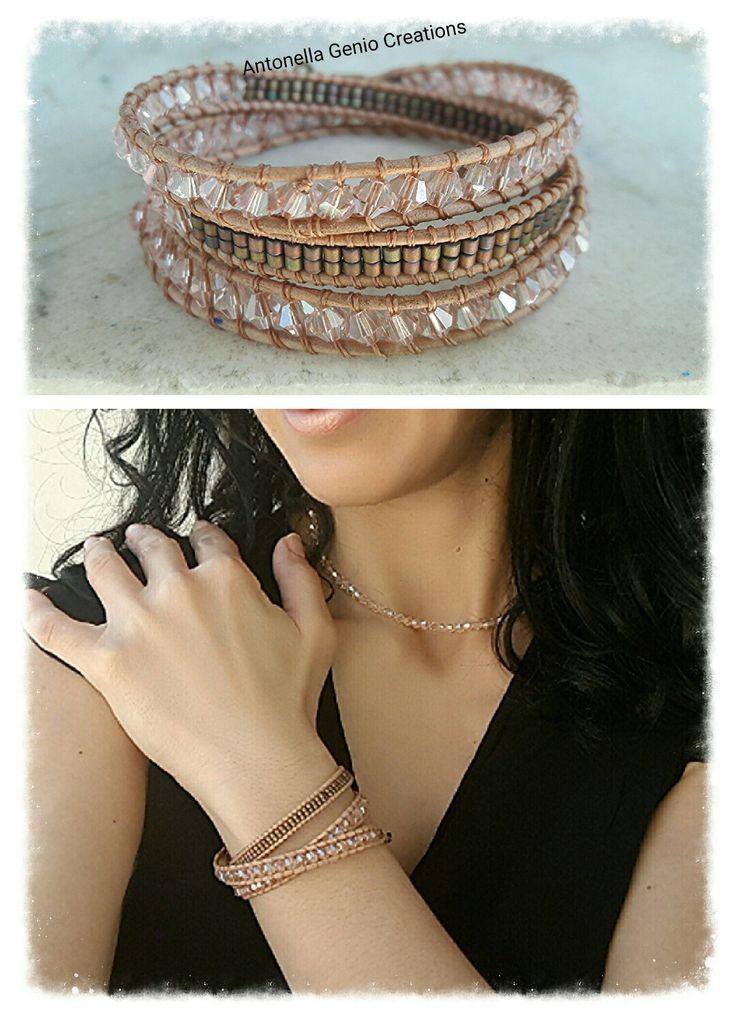 """Antonella Genio Creations Bracciale tipo """" Chan  Lui"""" con cristalli biconi e perline!"""