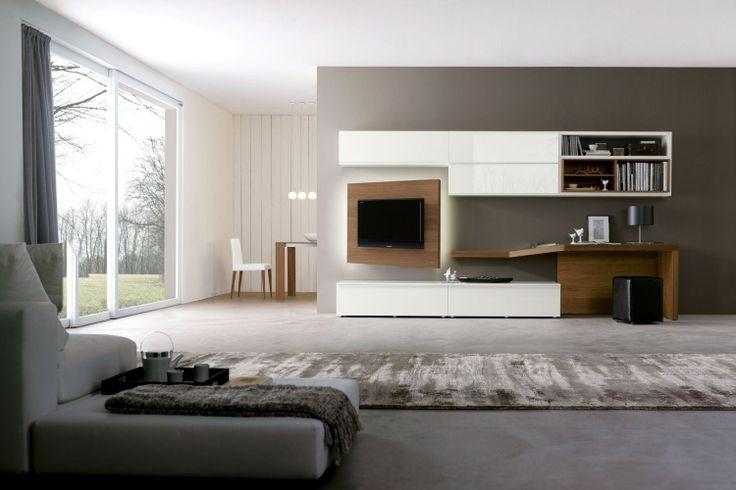 meuble tv avec partie orientable en bois dans le salon moderne