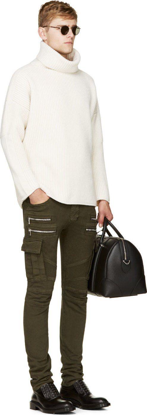 Balmain: Khaki Skinny Cargo Pants.