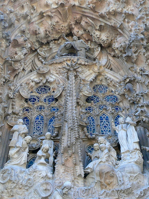 Detail of statues decorating the Sagrada Familla, Barcelona, Catalunya, Spain.