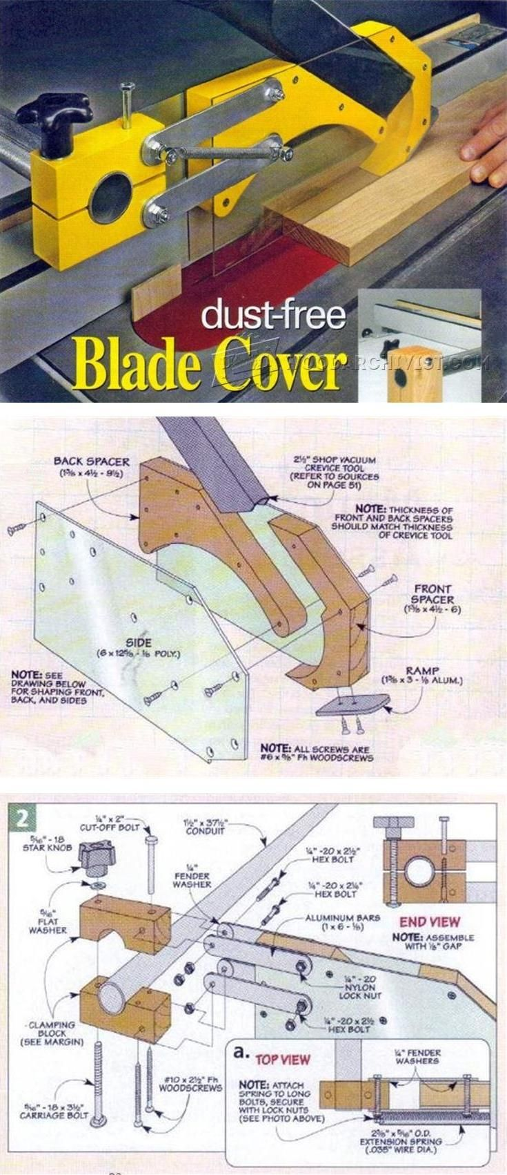 Table Saw Dust Collection Guard - Table Saw Tips, Jigs and Fixtures | WoodArchivist.com