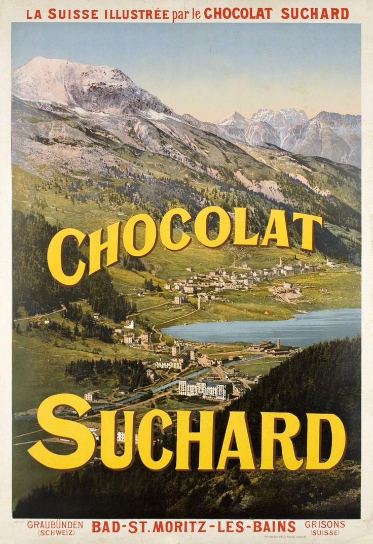 Bad-St Moritz-les Bains, la Suisse illustrée par le Chocolat Suchard.  ANONYME – 1908 circa