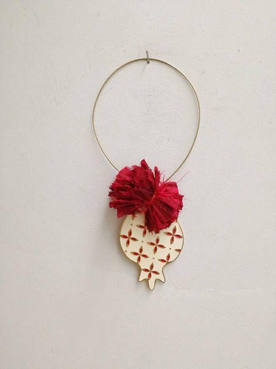 White pomegranate wreath festive xmas pomegranate on wire