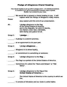 This Pledge of Allegiance Choral Reading choral reading has roles for 5 groups and 4 - 21 individual students.  It is written to be presented to another class or grade.