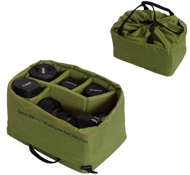 Portable DSLR Camera Inner Padded Bag DIY Insert Divider Case Cover  Partition Handle Pouch Fit 1 DSLR + 5Lens For Nikon Canon -in Camera/Vi...
