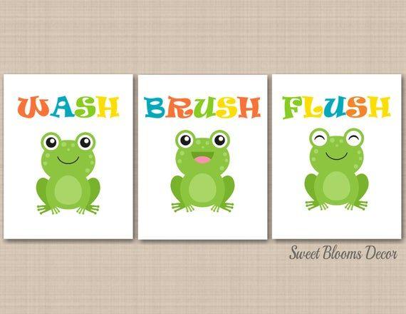 Frog Bathroom Wall Art Kids Boy Girl Bath Decor Childrens Baby