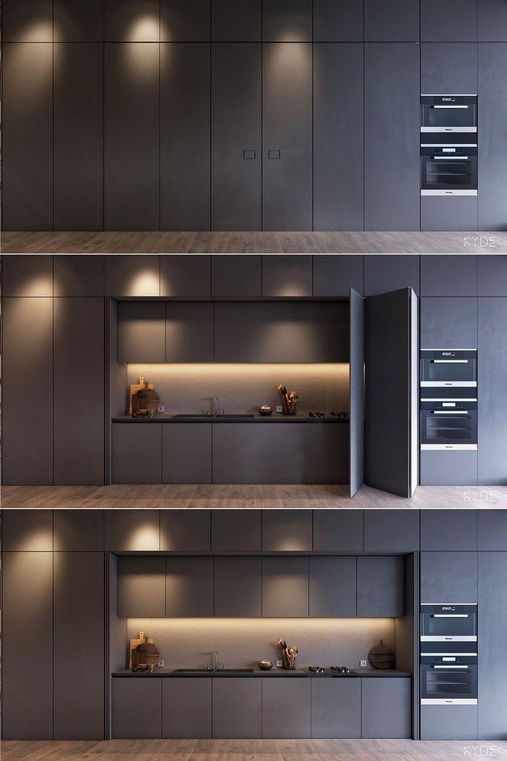 Minimalistische Innenarchitektur für ein geräumiges Haus mit neutralem Farbschema