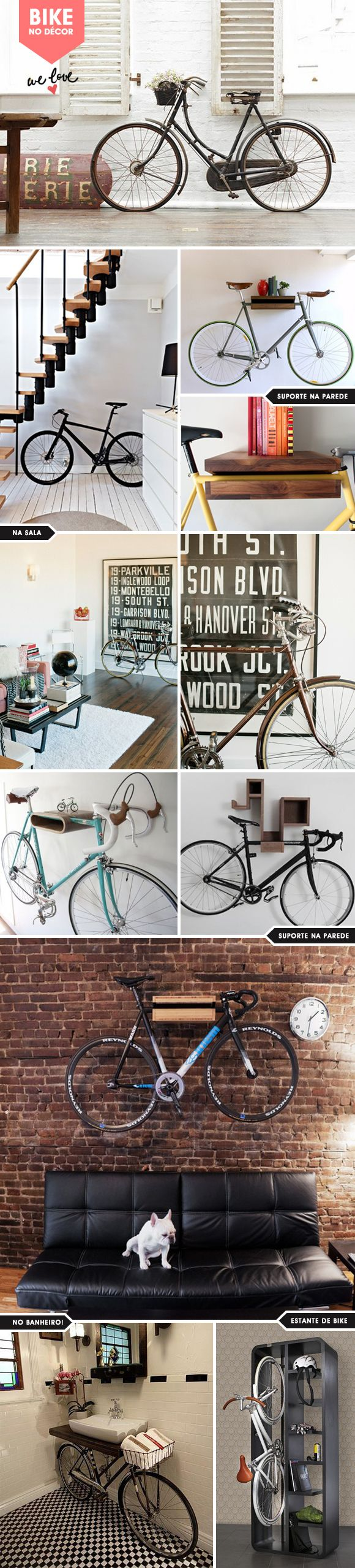 great urban bike stands and also interior home decor. Who doesn't want a bike on their wall?