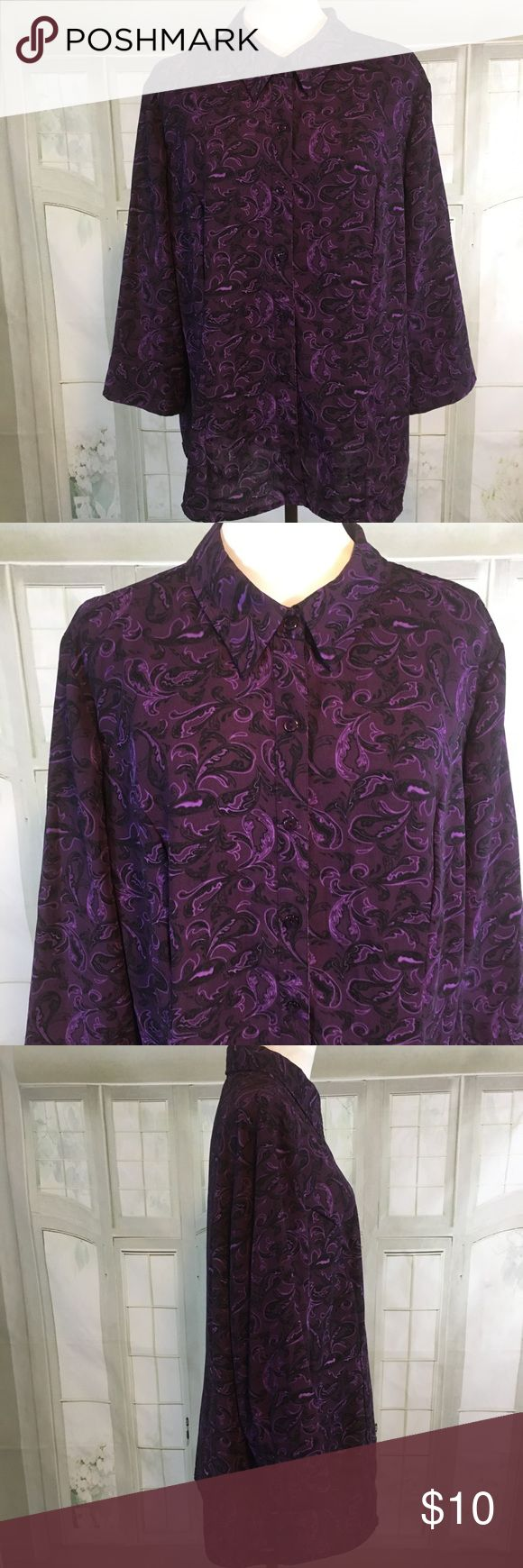 """Laura Scott Paisley Purple Button Down Blouse XL Laura Scott Paisley Purple Button Down Blouse XL. Beautiful Paisley Pattern in Hues of purple. Excellent condition - no flaws. 100% Polyester. Pit to Pit: 24.5"""". Length:  27"""". Laura Scott Tops Button Down Shirts"""