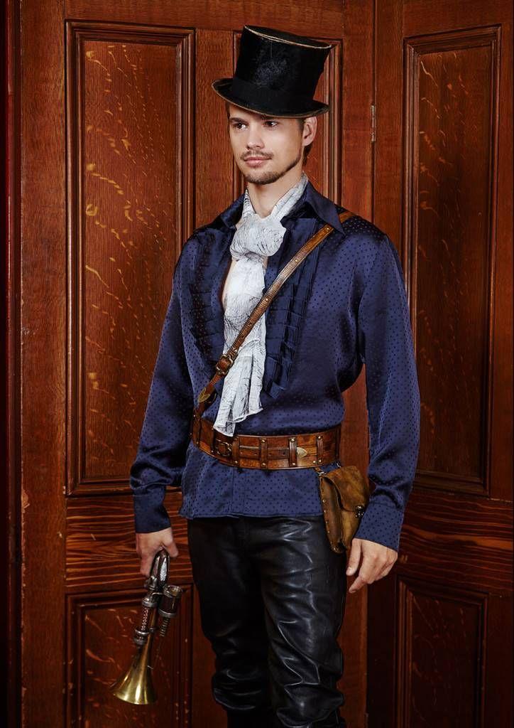 Men's steam royal open frills shirt.