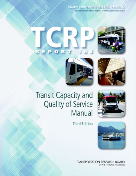 Transit Capacity and Quality of Service Manual Third Edition  Final Book Now Available  TRBs Transit Cooperative Research Program (TCRP) Report 165: Transit Capacity and Quality of Service Manual Third Edition provides guidance on transit capacity and quality of service issues and the factors influencing both. The manual contains background statistics and graphics on the various types of public transportation and it provides a framework for measuring transit availability comfort and…
