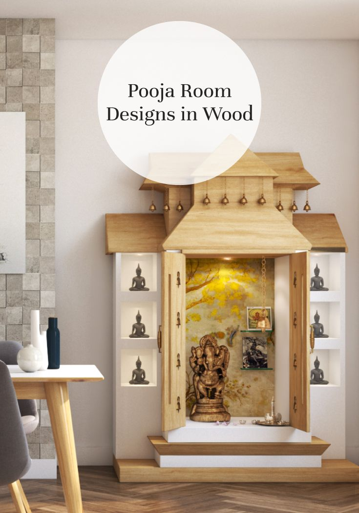 Made Of Wood Inspiring Pooja Rooms For Your Home Pooja Room