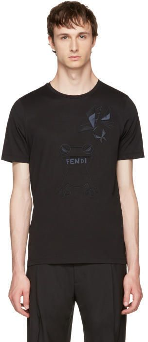 Fendi Black Butterfleyes and Frogs T-Shirt