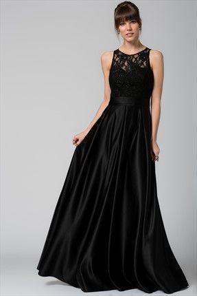 Dantel Yaka Siyah Elbise