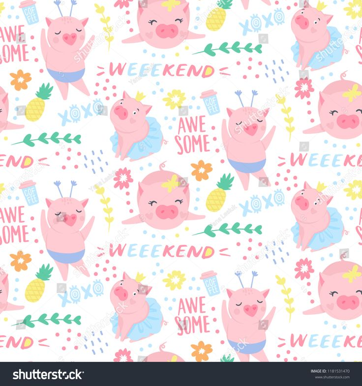 Vector seamless pattern with funny pigs. Elements for New