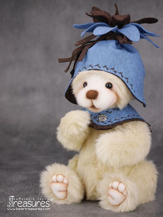 Mohair artist teddy bear from Bear Treasures by Melanie Jayne, needle felted face and wet felted accessories