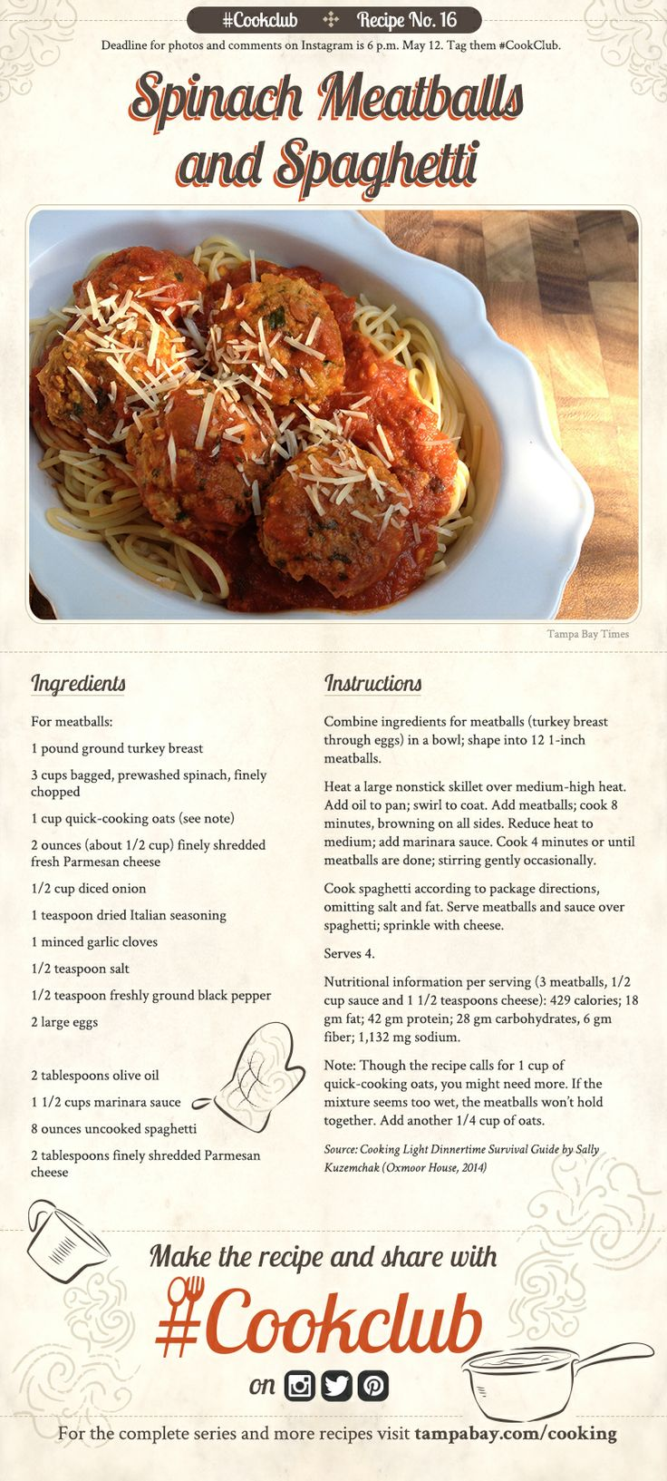 #CookClub Recipe No. 16 is a classic!: Lights Dinnertime, Cookclub Recipe, Yummy Food, Turkey Spinach Meatballs, Healthy Eating, Cooking Lights, Healthy Recipe, Survival Guide, Dinnertime Survival