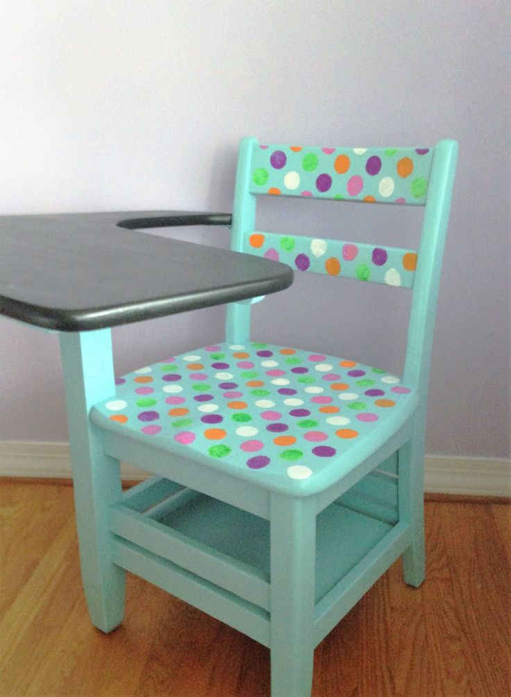 School desk makeover using colorful craft paints and a stencil.