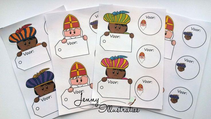 Sint en Piet label stickers, leuk voor op je sint cadeautjes! €1,50. door Jenny Illustraties