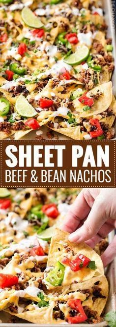 Sheet Pan Beef and B Sheet Pan Beef and Black Bean Nachos  ...  Sheet Pan Beef and B Sheet Pan Beef and Black Bean Nachos   These sheet pan nachos are sure to be a crowd pleaser! Layer after layer of mouthwatering flavor smothered with a jalapeño cheese sauce and loaded with classic nacho toppings!   #appetizer #nachos #beef #party Recipe : http://ift.tt/1hGiZgA And @ItsNutella  http://ift.tt/2v8iUYW