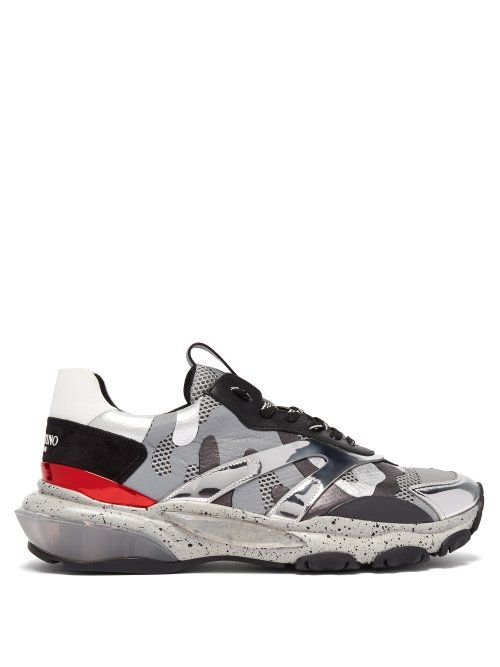 5d69a3c0a VALENTINO VALENTINO - BOUNCE RAISED SOLE LOW TOP LEATHER TRAINERS - MENS -  SILVER.  valentino  shoes
