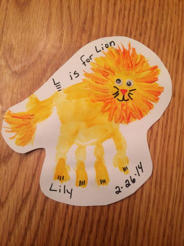 Lion handprint Letter L Crafts Pinterest