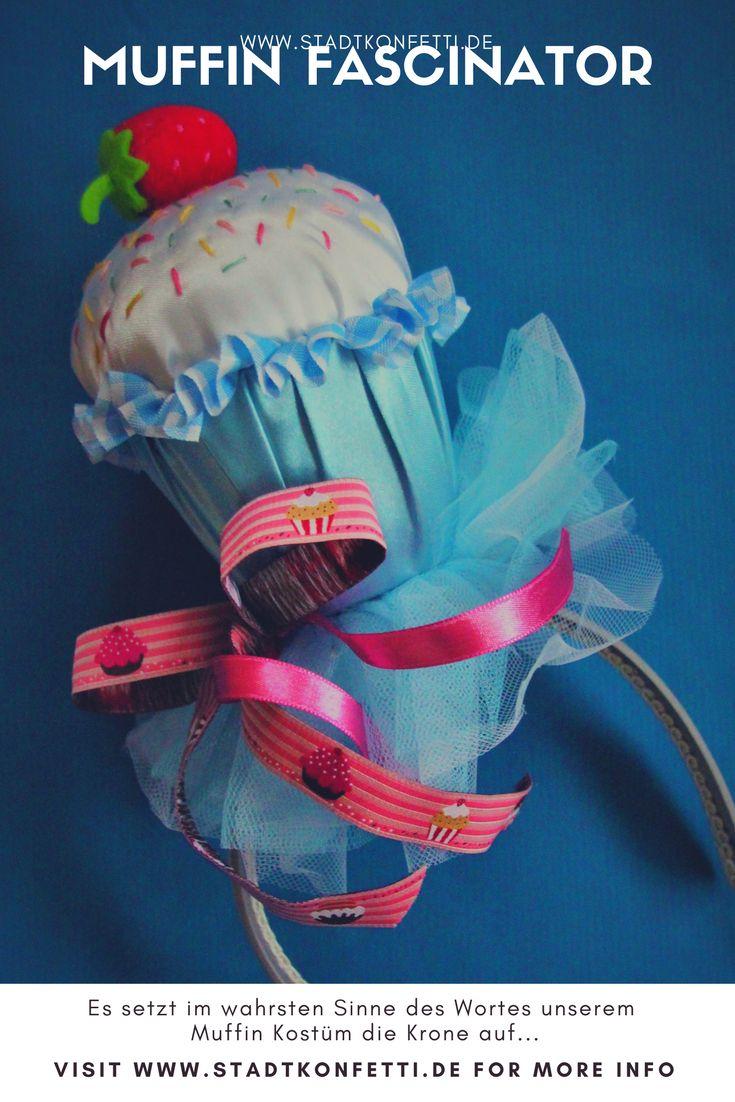 Eine super originelle Kopfbedeckung für unser Muffin-Törtchen-Kostüm: Ein Muffin-Fascinator #DIY #Kostüm #Gruppenkostüm #Fascinator #muffin #törtchen