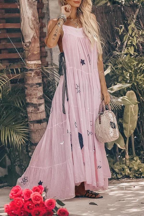 60f0c102be6 Sexy Fashion Pink Sleeveless Maxi Dress