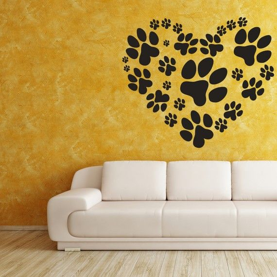 Love Your Pet Heart of Paw Prints - Vinyl Decal, Wall Sticker, Wall Decor, Wall Decal, Vet, Home Decor