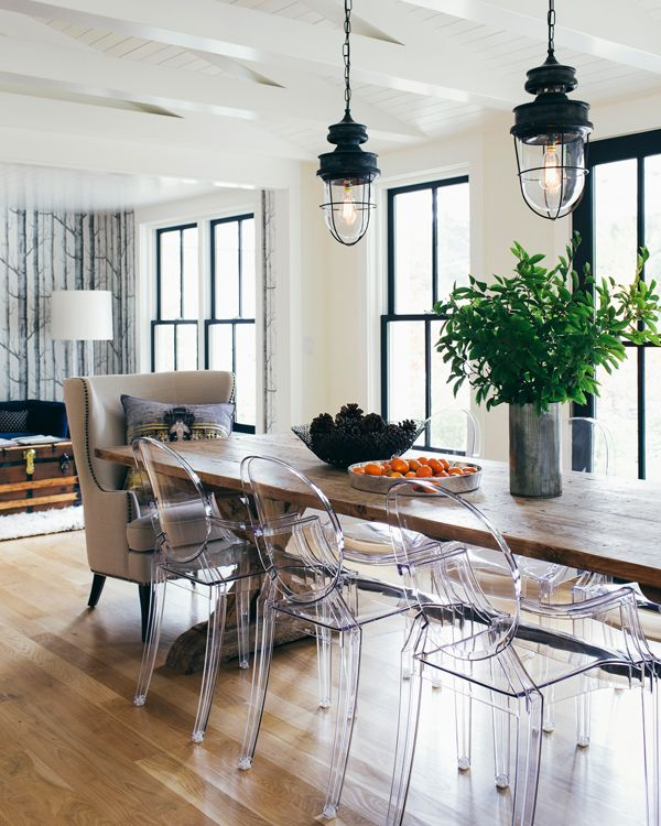DINING ROOM  Industrial Lights, Wood Table And Clear Ghost Chairs, You  Could Keep 2 Of Your Existing Chairs For The Heads Of The Table.