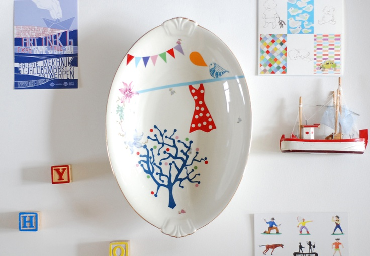 love this plate from Dutch designer who upcycles vintage plates with illustration...
