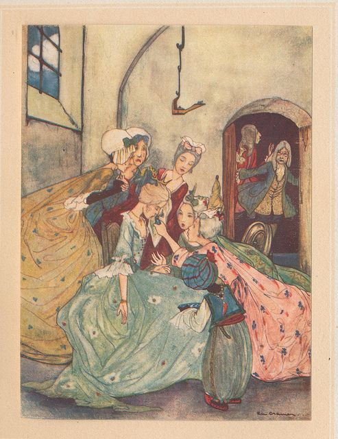 Art | Cinderella and her step-family, the glass slipper and the footmen