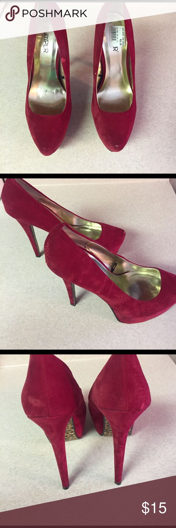 Red bottom cheetah heels Only wore one time great condition bumper Shoes Heels