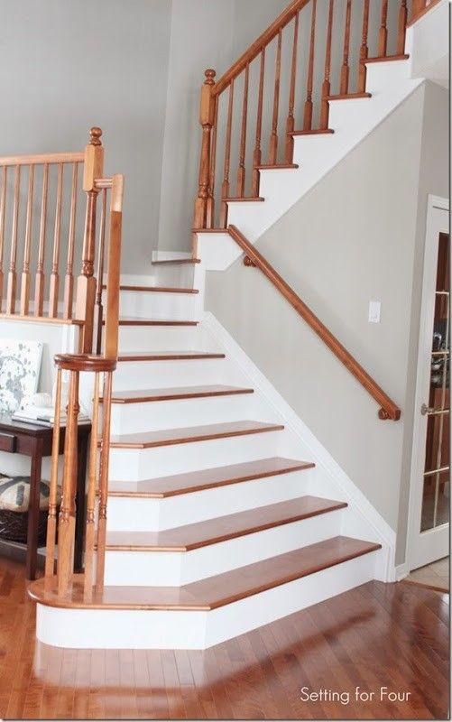 Stairs Makeover -  Tips to replace carpet and install hardwood on curved stairs.