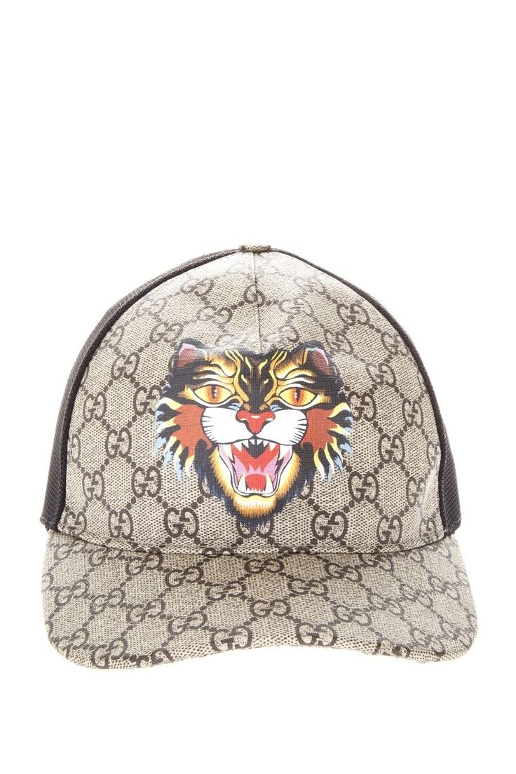 GUCCI GG SUPREME HAT WITH ANGRY CAT PRINT. #gucci #