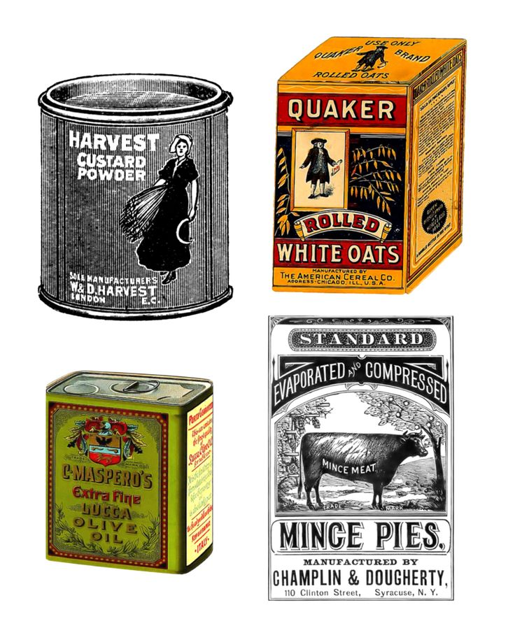 #free #vintage #victorian #antique #art #print #food #oatmeal #olive #oil #mince #pie #custard #pudding #grocery #groceries #can #tin #canistar #box #containers #label #quaker #harvester #cereal #beef #cattle #cow #advertisement #ad #foodstuff #box #container #package